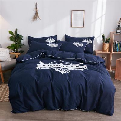 2018新款韩版个性套件   床单款 1.0m(3.3英尺)床三件套 航海家-藏蓝