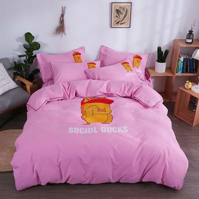 2018新款韩版个性套件   床单款 1.0m(3.3英尺)床三件套 小黄鸭-粉色