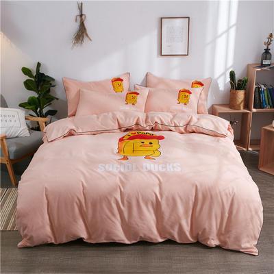 2018新款韩版个性套件   床单款 1.0m(3.3英尺)床三件套 小黄鸭-玉色