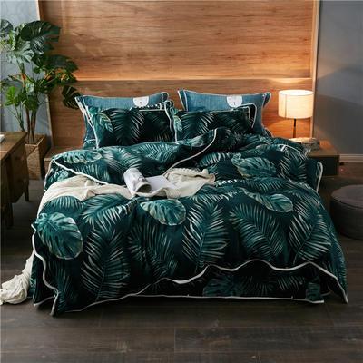 2019新款金貂绒四件套 1.2m床单款三件套 绿色丛林