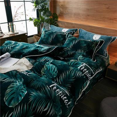 2019新款金貂绒单品被套 单被套:150x200cm 绿色丛林