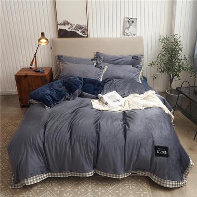 2019新款纯色水晶绒四件套 1.5m床单款四件套 摩卡-藏青灰