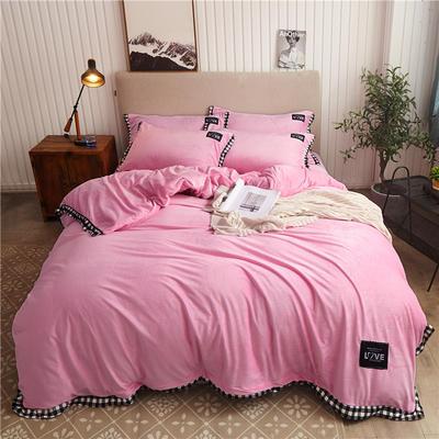 2019新款纯色水晶绒四件套 1.5m床单款四件套 摩卡-粉色