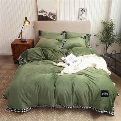 2019新款纯色水晶绒四件套 1.2m床单款三件套 摩卡-果绿