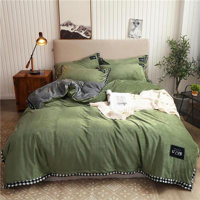 2019新款纯色水晶绒四件套 1.5m床单款四件套 摩卡-果绿灰
