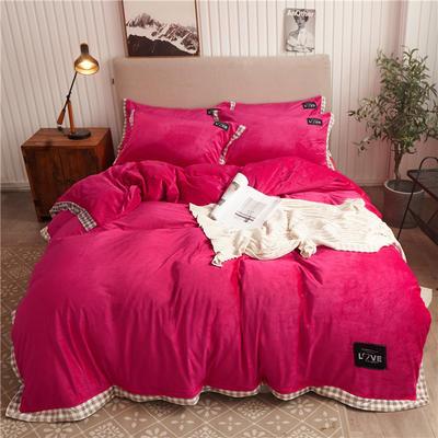2019新款纯色水晶绒四件套 1.2m床单款三件套 摩卡-玫红