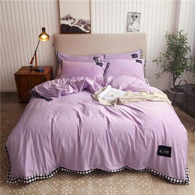 2019新款纯色水晶绒四件套 1.8m床笠款四件套 摩卡-浅紫