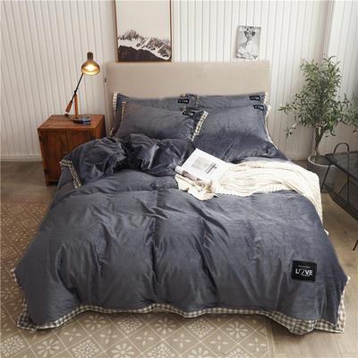 2019新款纯色水晶绒四件套 1.5m床单款四件套 摩卡-深灰