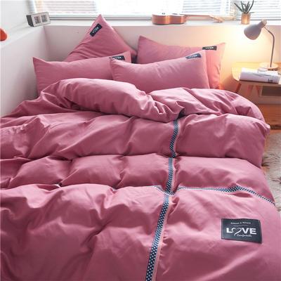 2020简约纯色加厚磨毛四件套被套床单宿舍三件套(床单款) 1.5m床单款 纯玫红