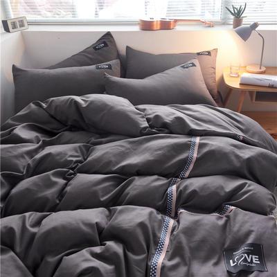 2020简约纯色加厚磨毛四件套被套床单宿舍三件套(床单款) 1.5m床单款 纯深灰