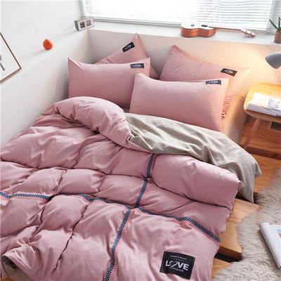 2020简约纯色加厚磨毛四件套被套床单宿舍三件套(床单款) 1.2m床单款三件套 豆沙粉+卡其