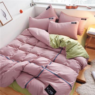 2020简约纯色加厚磨毛四件套被套床单宿舍三件套(床单款) 1.5m床单款 豆沙粉+抹茶绿