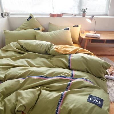 2020简约纯色加厚磨毛四件套被套床单宿舍三件套(床单款) 1.5m床单款 抹茶绿+杏黄