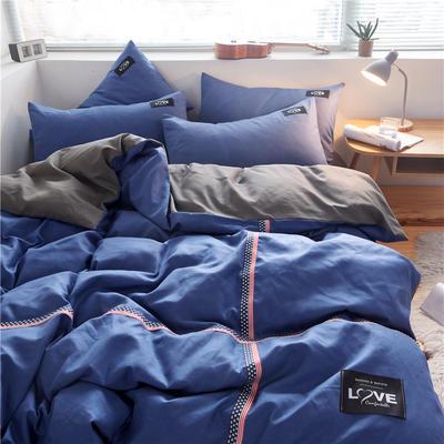 2020简约纯色加厚磨毛四件套被套床单宿舍三件套(床单款) 1.5m床单款 牛仔蓝+浅灰