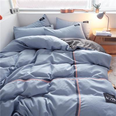 2020简约纯色加厚磨毛四件套被套床单宿舍三件套(床单款) 1.5m床单款 浅蓝+浅灰