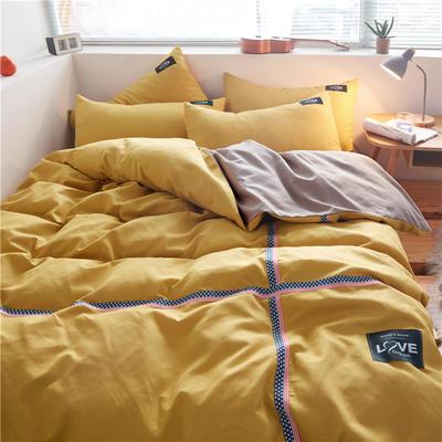 2020简约纯色加厚磨毛四件套被套床单宿舍三件套(床单款) 1.5m床单款 杏黄+卡其