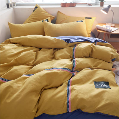 2020简约纯色加厚磨毛四件套被套床单宿舍三件套(床单款) 1.2m床单款三件套 杏黄+牛仔蓝