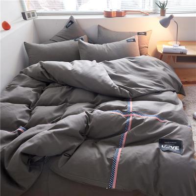 2020简约纯色加厚磨毛四件套被套床单宿舍三件套(床笠款) 1.5床笠款 纯浅灰