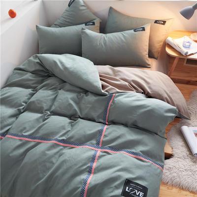 2020简约纯色加厚磨毛四件套被套床单宿舍三件套(床笠款) 1.5床笠款 果绿+卡其