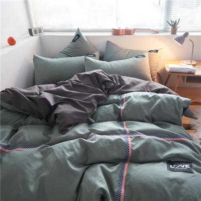 2020简约纯色加厚磨毛四件套被套床单宿舍三件套(床笠款) 1.5床笠款 果绿+深灰