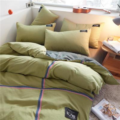 2020简约纯色加厚磨毛四件套被套床单宿舍三件套(床笠款) 1.5床笠款 抹茶绿+果绿