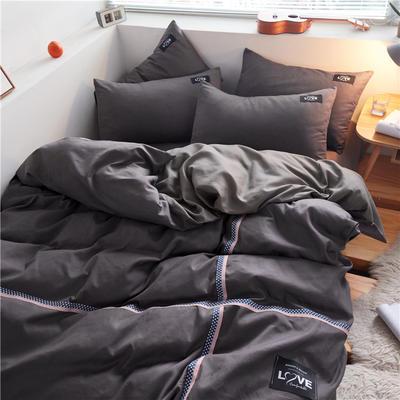 2020简约纯色加厚磨毛四件套被套床单宿舍三件套(床笠款) 1.5床笠款 深灰+浅灰