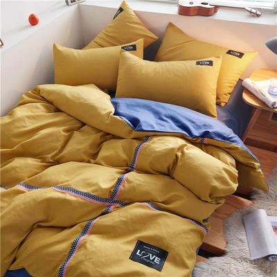 2020简约纯色加厚磨毛四件套被套床单宿舍三件套(床笠款) 1.5床笠款 杏黄+牛仔蓝