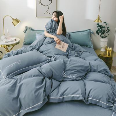 2020新款洛卡棉网红蝴蝶结刺绣四件套 1.2m床单款三件套 宾利蓝