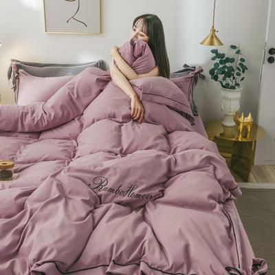 2020新款洛卡棉网红蝴蝶结刺绣四件套 1.5m床单款四件套 豆沙