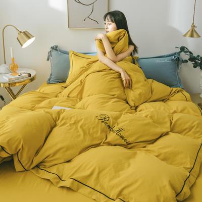 2020新款洛卡棉网红蝴蝶结刺绣四件套 1.5m床单款四件套 姜黄