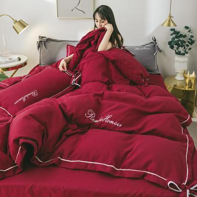 2020新款洛卡棉网红蝴蝶结刺绣四件套 1.8m床单款四件套 酒红