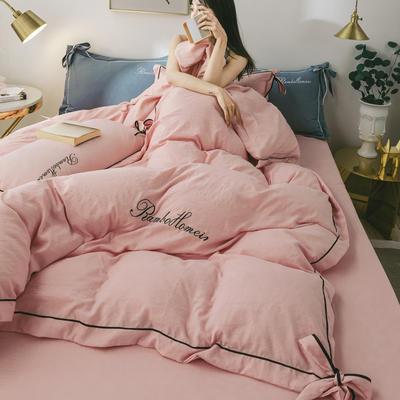 2020新款洛卡棉网红蝴蝶结刺绣四件套 1.8m床单款四件套 魅力粉