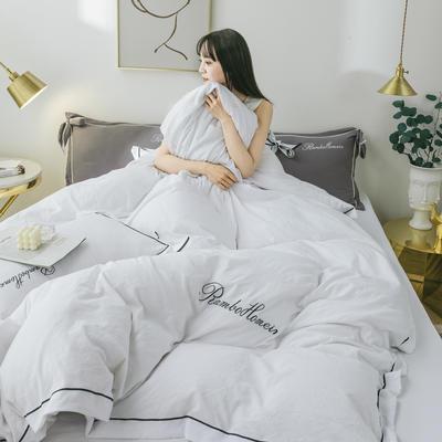 2020新款洛卡棉网红蝴蝶结刺绣四件套 1.8m床单款四件套 甜蜜白