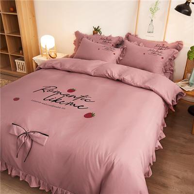 2020最新GD小雏菊热款韩版公主风花边蝴蝶结床单床裙床罩四件套 床单款四件套1.5m床被套200*230cm 浪漫草莓-豆沙