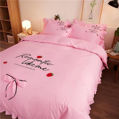 2020最新GD小雏菊热款韩版公主风花边蝴蝶结床单床裙床罩四件套 床单款四件套1.5m床被套200*230cm 浪漫草莓-嫩粉