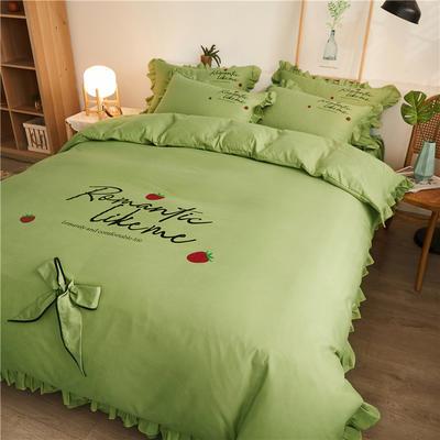2020最新GD小雏菊热款韩版公主风花边蝴蝶结床单床裙床罩四件套 床单款四件套1.5m床被套200*230cm 浪漫草莓-鲜绿