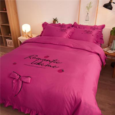 2020最新GD小雏菊热款韩版公主风花边蝴蝶结床单床裙床罩四件套 床单款四件套1.5m床被套200*230cm 浪漫草莓-嫣红
