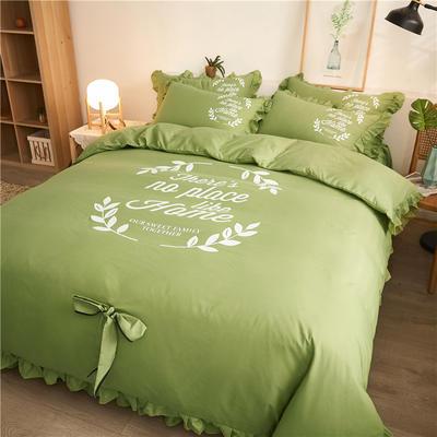 2020最新GD小雏菊热款韩版公主风花边蝴蝶结床单床裙床罩四件套 床单款四件套1.5m床被套200*230cm 秘密花园-鲜绿