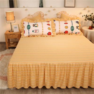 2020款热款韩版花边植物羊绒床裙四件套 1.5m床单款四件套 幸福花