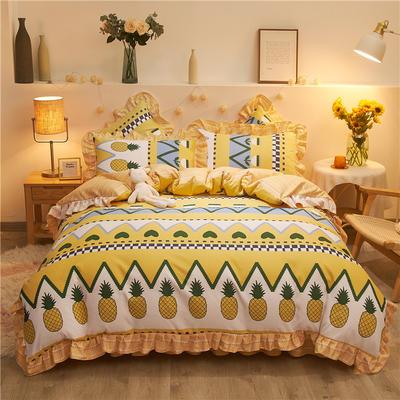 2020款热款韩版花边植物羊绒床裙四件套 1.2m床单款三件套 菠萝地海