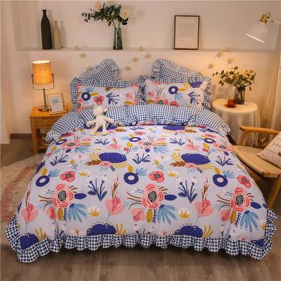 2020款热款韩版花边植物羊绒床裙四件套 1.2m床单款三件套 畅游花海