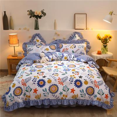 2020款热款韩版花边植物羊绒床裙四件套 1.2m床单款三件套 花语寄情