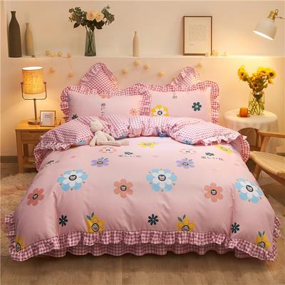 2020款热款韩版花边植物羊绒床裙四件套 1.2m床单款三件套 妙恋粉