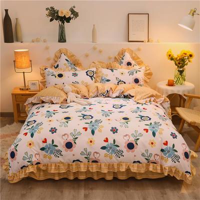 2020款热款韩版花边植物羊绒床裙四件套 1.2m床单款三件套 陌上花开