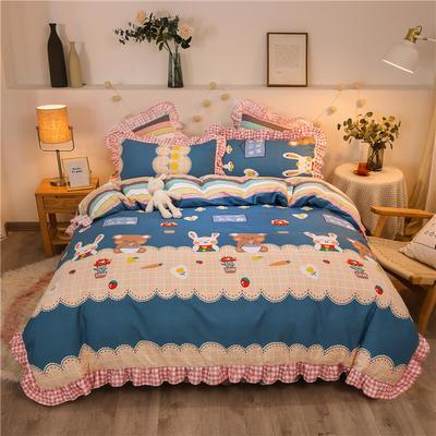 2020款热款韩版花边植物羊绒床裙四件套 1.2m床单款三件套 趣味时光