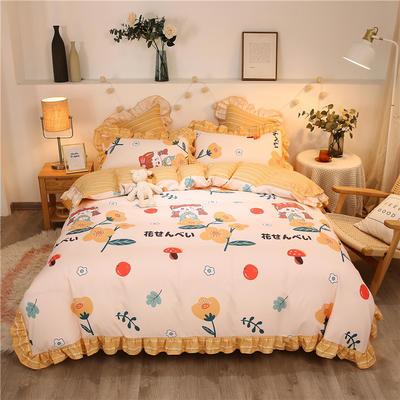 2020款热款韩版花边植物羊绒床裙四件套 1.2m床单款三件套 仙本娜