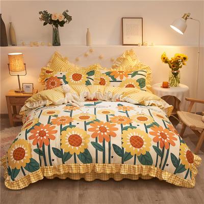 2020款热款韩版花边植物羊绒床裙四件套 1.5m床单款四件套 向日葵