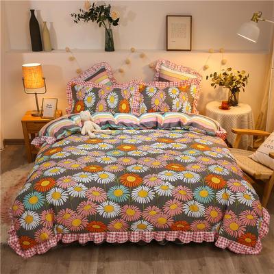 2020款热款韩版花边植物羊绒床裙四件套 1.5m床单款四件套 小雏菊