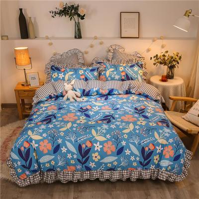 2020款热款韩版花边植物羊绒床裙四件套 1.5m床单款四件套 悠然花海