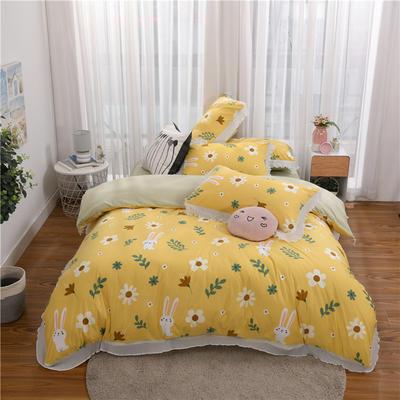 2020伊家纺韩版雪纺花边公主风四件套 1.8m床单款四件套 兔兔-柠檬黄